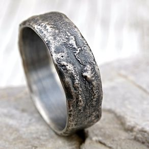 Molten Silver Ring Richly Structured Unique Mens Alternative Wedding Band By Claudia Fernandes
