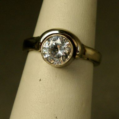 Custom Made 14k Gold Ring One Carat Diamond Moon's Embrace