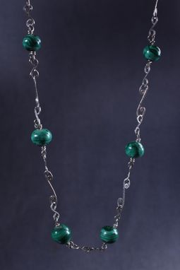 Custom Made Malachite Beads On Sterling Silver Link Necklace