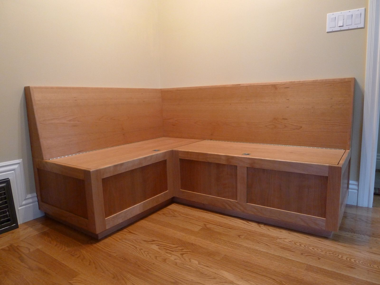 Custom cherry banquette by near west for Dining room tables booth style