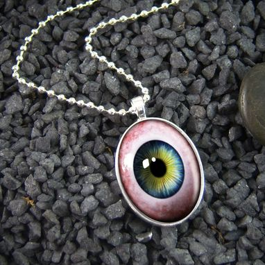 Custom Made Human Eyeball Eye Horror Sterling Silver Necklace 22-Son
