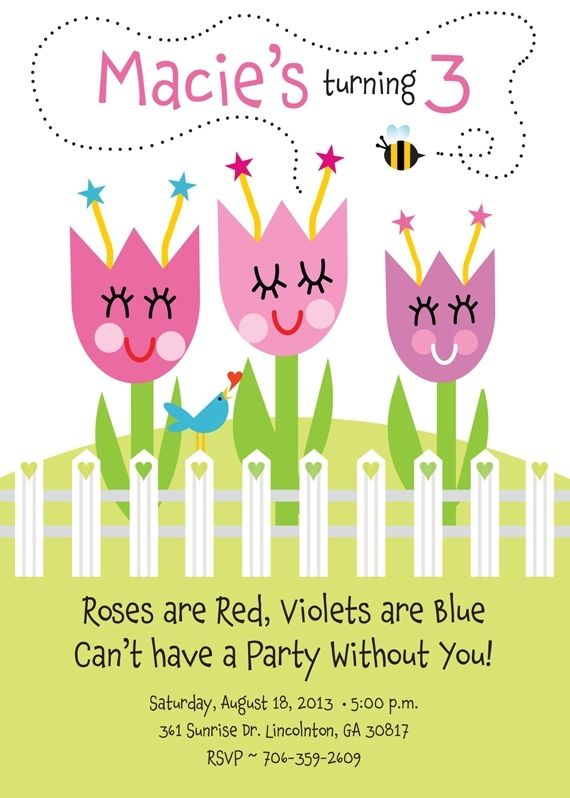 40ce2cb847f Hand Crafted Garden Birthday Party Invitation With Flowers by T-Bone ...