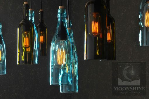 Custom Made The Napa - Recycled Wine Bottle Hanging Chandelier - Modern Farmhouse Lighting