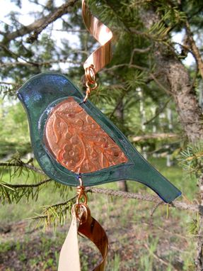 Custom Made Sparrow Fused Glass And Copper Spinner
