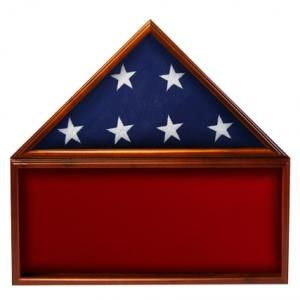 Custom Made Flag & Memorabilia Display Case - Red Background