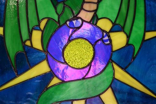 Custom Made Dragonstar Stained Glass Panel