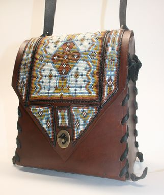 Custom Made Brown And Blue Beaded Purse