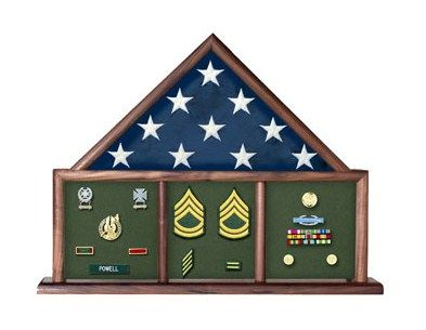 Custom Made Flag And Memorabilia, Flag Shadow Box, Combination Flag Medal