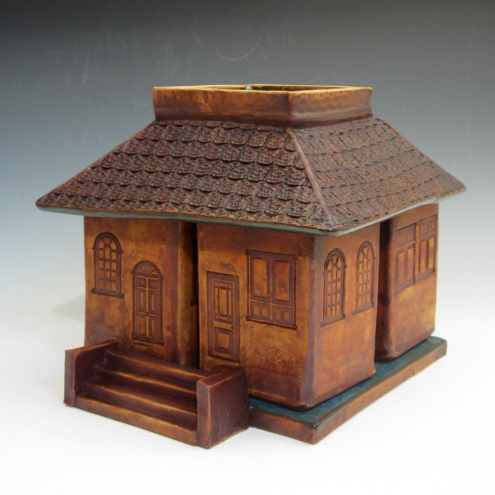 Hand Made Pottery Breakfast Set In The Form Of A House By