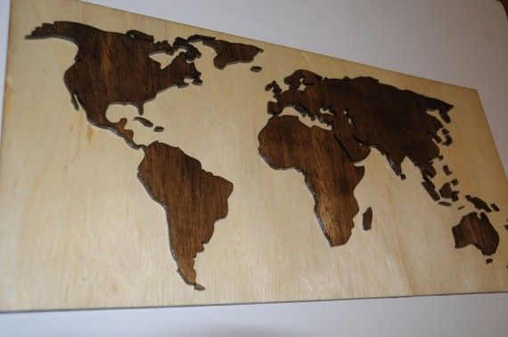 Hand Crafted Wooden World Map With 3d Effect By Purple