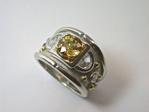 Custom Made Yellow And White Diamond Bold Platinum Ring