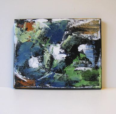 Custom Made Blue And Forest Green Abstract Original Acrylic Painting