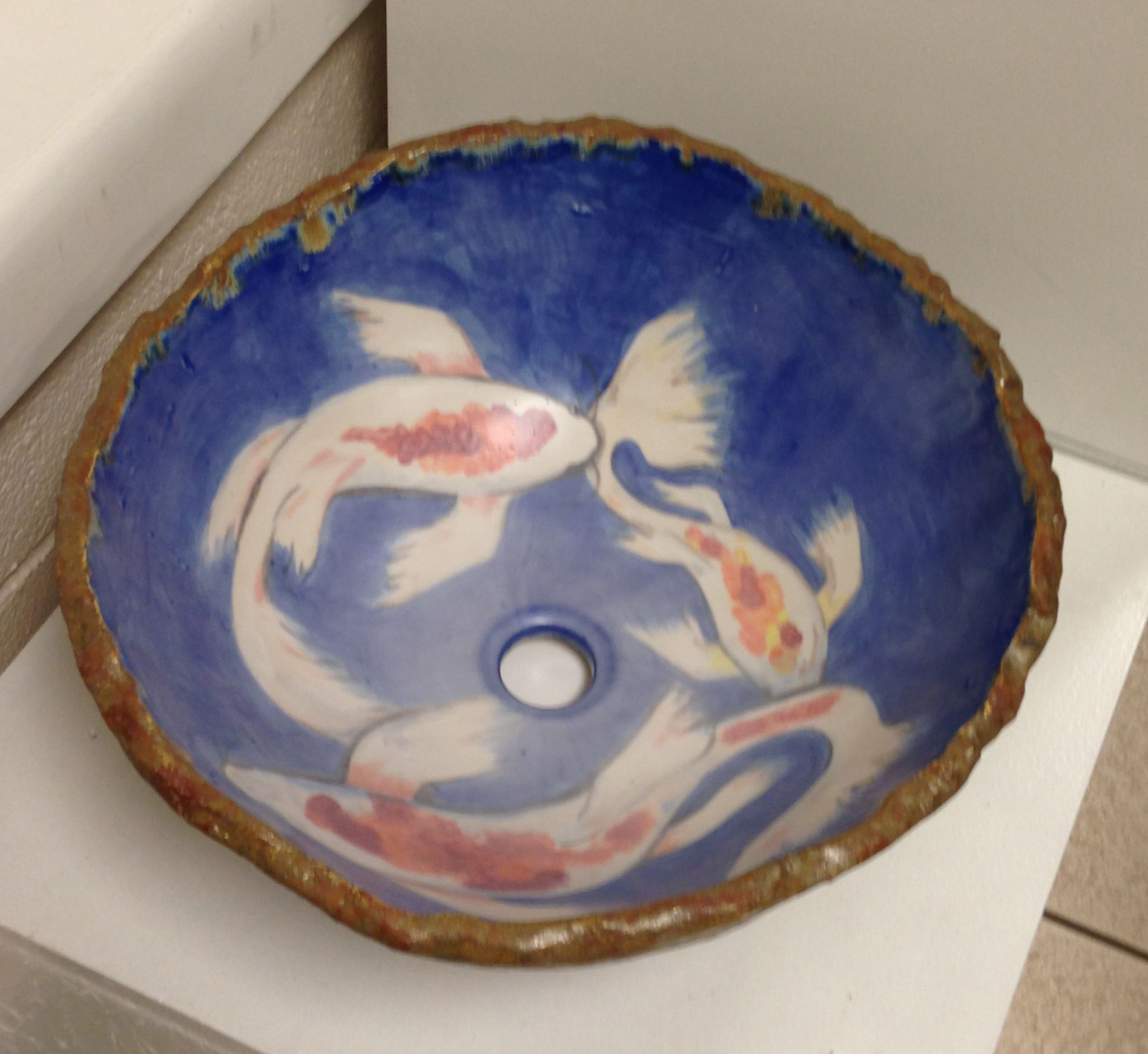 Custom Made Koi Fish Vessel Sink Bowl By Treetop Studio