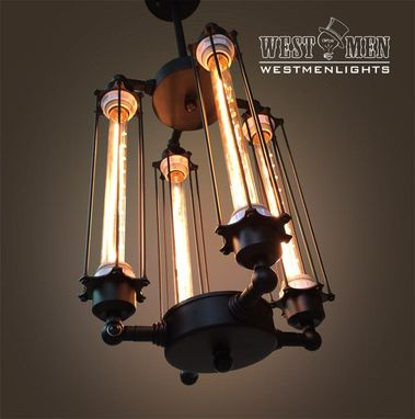 Custom Made Westmenlights Steampunk Black Iron Chandelier Ceiling Mounted Lamp Vintage Rustic