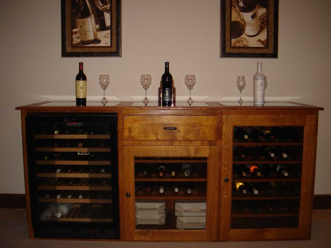 Handmade Quarter Sawn White Oak Wine Cabinet With