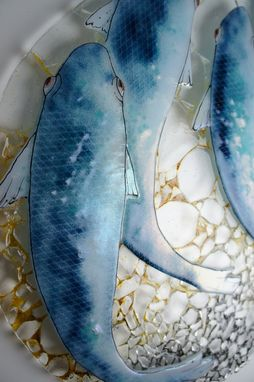 "Custom Made Fused Glass Artwork - ""Blue Fish"""