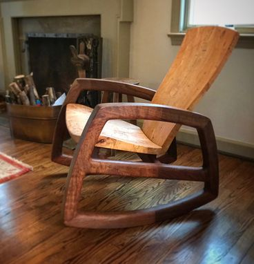 Custom Made Wild Maple And Figured Walnut Rocking Chair