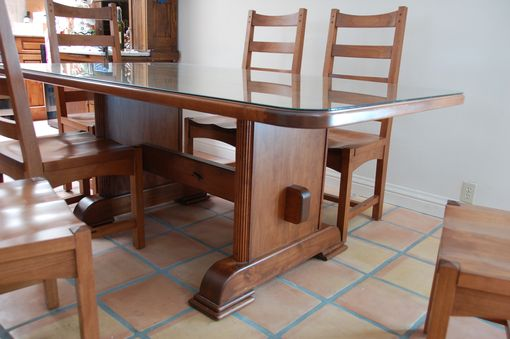 Custom Made Craftsman Alder Table And Chairs With Matching Bar Stools