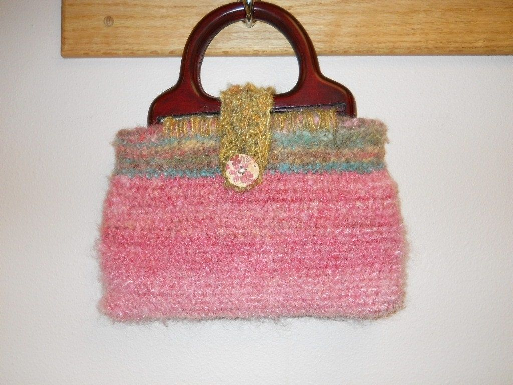 Hand Crafted Crocheted Purse Wood Handles Spring Colors Rose Tan