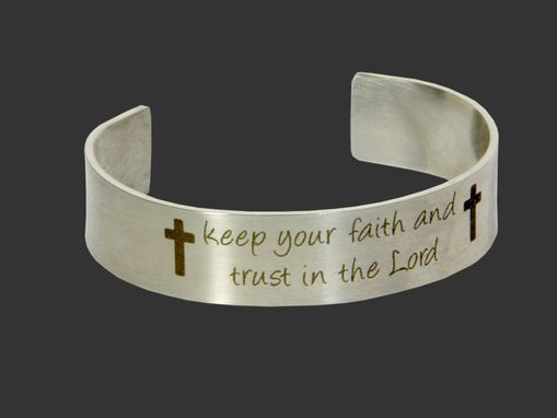 Custom Made Cross Bracelet Steel Cuff, Religious Cuff, Christian Bracelet, Spiritual Jewelry, Faith Bracelet