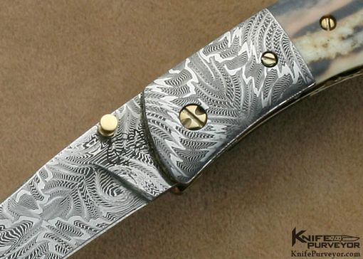 Custom Made Don Hanson Iii Custom Knives Mammoth Ivory & Sole Authorship Mosaic Damascus Linerlock