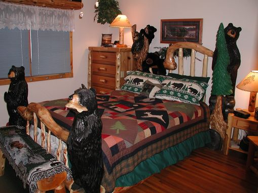Custom Made Log Bed With Bears