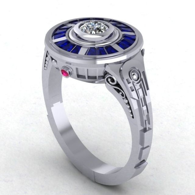 r2d2 impressions in 14 karat white gold engagement wedding ring - Anime Wedding Rings