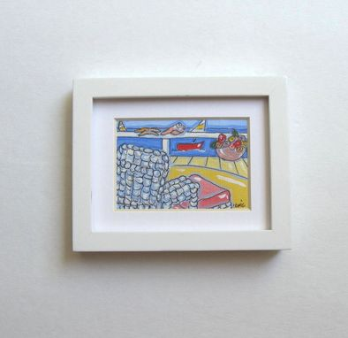 Custom Made Acrylic Landscape Beach Painting, Original Minature Ink On Canvas