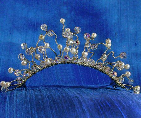 Custom Made Free Spirit Sterling Silver Freshwater Pearl And Swarovski Crystal Bridal Tiara
