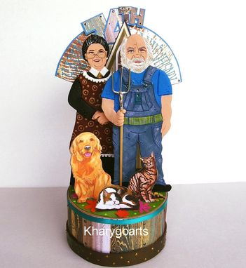 Custom Made American Gothic Wedding Anniversary Cake Topper