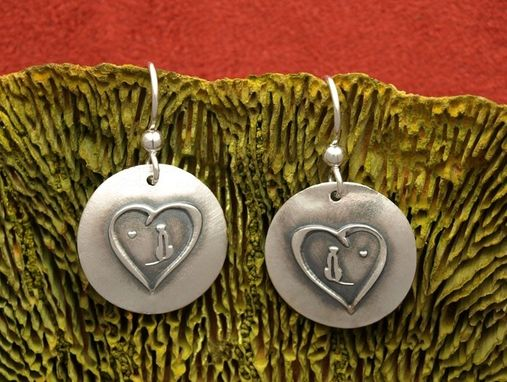 Custom Made Rhodesian Ridgeback In Heart Earrings - Small Round