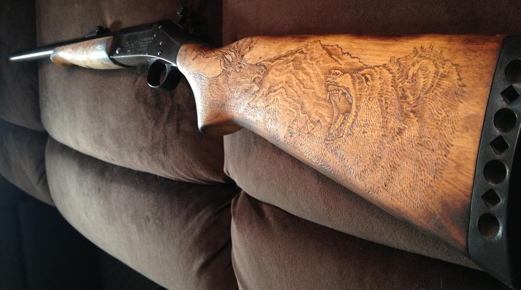 Stock On Gun Cabinet Handmade Custom Burned Gun Stock By San Diego Custom Wood Burning