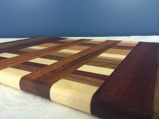 Custom Made Maple, Walnut, Purpleheart & Cherry Cutting Board