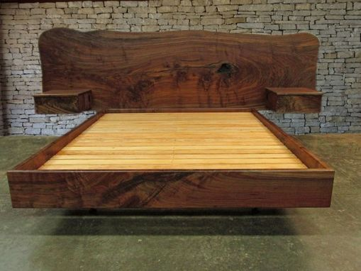 Handmade Claro Walnut Slab Headboard Bed California King Frame And Floating Side Tables By