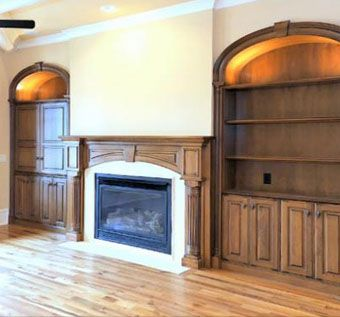 Custom Made Bookcases With Elliptical Moldings