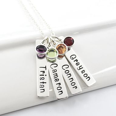 Custom Made Mother Of Four Personalized Hand Stamped Bar Necklace | Grandmother Jewelry