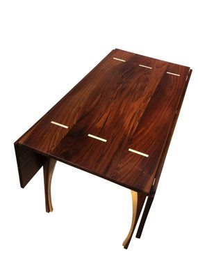 Custom Made Drop Leaf Dining Table - Solid Walnut - 48 Inches Square - Seats 8 - Contemporary Modern Lines