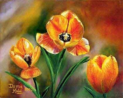 Custom Made Three Tulips - Oil Painting (Sold)
