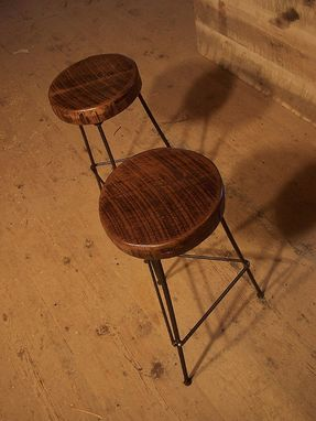 Custom Made Reclaimed Wood Bar Stools With Industrial Rebar Legs