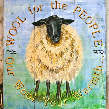 Custom Made Sheep Acrylic Painting On Repurposed Wood Panels