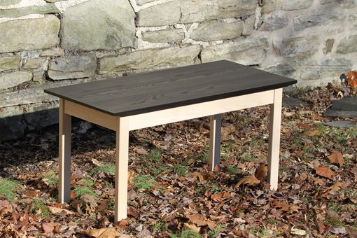 Custom Made Black And White Ash Coffee Table - Black Top, Whitewashed Base