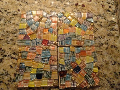Custom Made Mosaic Tiles Striped Glass Coasters