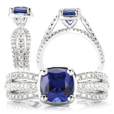 Custom Made 18k Chatham 6mm Cushion Cut Blue Sapphire Engagement Ring With Split Shank