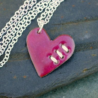 Custom Made Valentine Jewelry Mended Heart Enamel Pendant Necklace Copper Enameled Sewn Pink Ivory