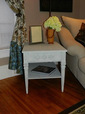 Custom Made Refinished Blue Shabby Chic End Table