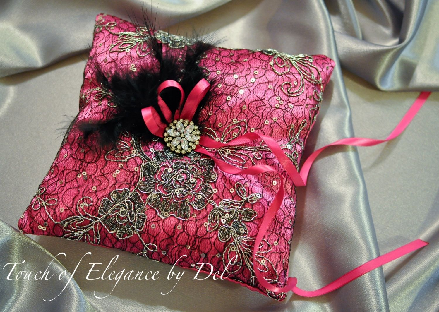 Wedding Pillow  Hot Pink Satin Silk Black  Alencon Lace
