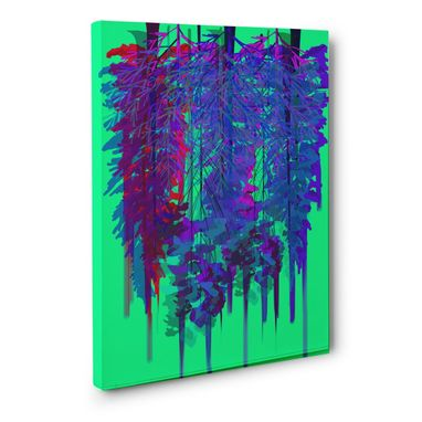 Custom Made Neon Mint Forest Canvas Wall Art