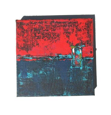 Custom Made Red And Turquoise Abstract Paintings Triptych Original Acrylic On Canvas