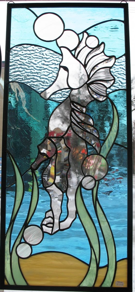 Hand Made Seahorse Window By Prairie Studio Glass