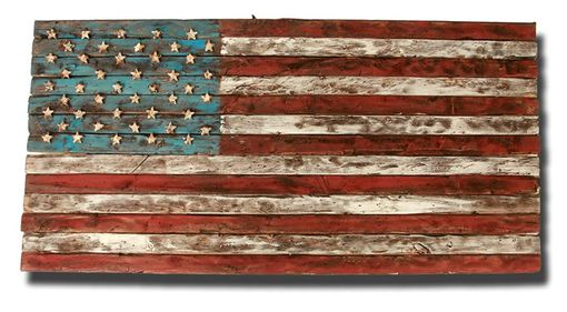 Hand Crafted Distressed Wood American Flag By Chris Knight